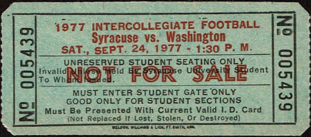 1977 NCAAF Syracuse Orange ticket stub vs Washington