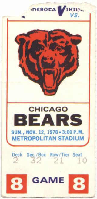 1978 Minnesota Vikings ticket stub vs Chicago