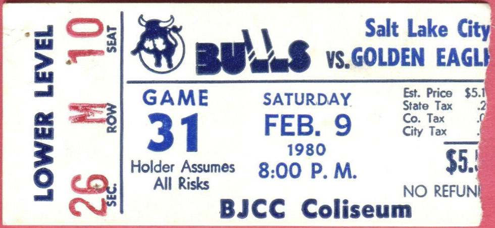 1980 CHL Birmingham Bulls ticket stub vs Salt Lake