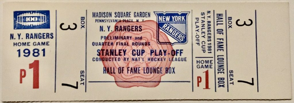 1981 New York Rangers Playoff ticket stub vs Kings