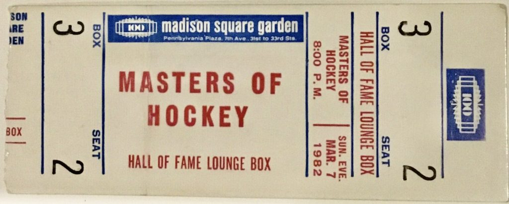 1982 Masters of Hockey Ticket Stub