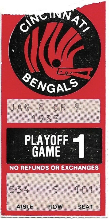 1983 AFC Wild Card Game ticket stub Jets Bengals