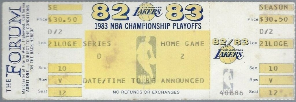 1983 NBA Finals Game 4 ticket stub 76ers Lakers