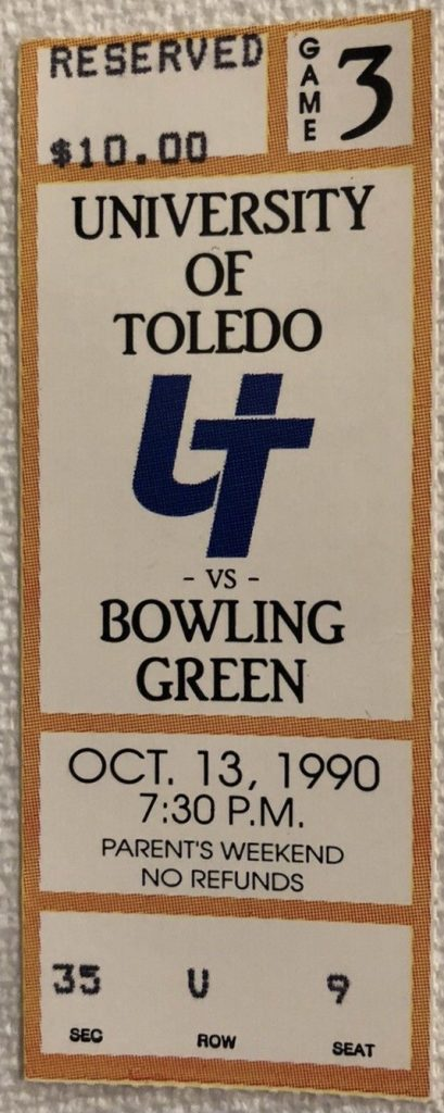1990 NCAAF Toledo Rockets ticket stub Bowling Green