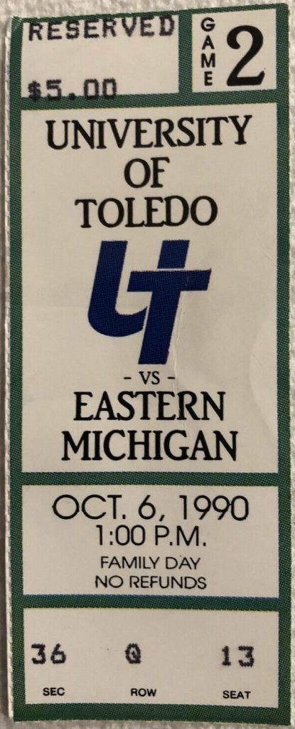 1990 NCAAF Toledo Rockets ticket stub Eastern Michigan