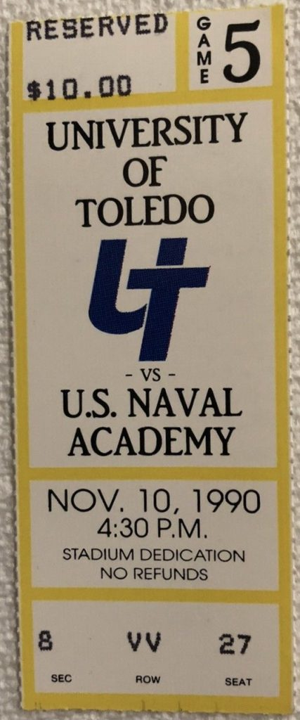 1990 NCAAF Toledo Rockets ticket stub Navy