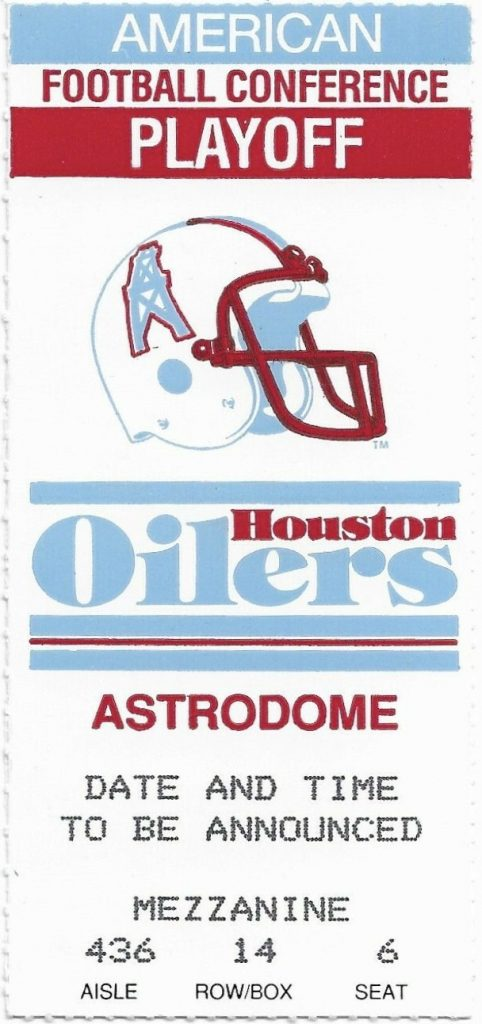 1991 AFC Wild Card Game ticket stub Jets Oilers