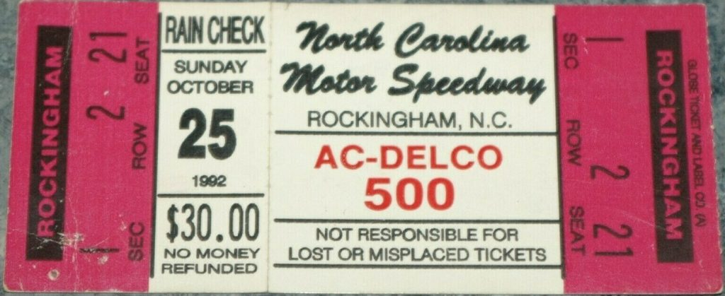 1992 AC Delco 500 ticket stub Kyle Petty
