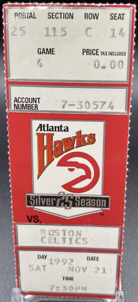 1992 Atlanta Hawks ticket stub Dominique Wilkins 41 pts