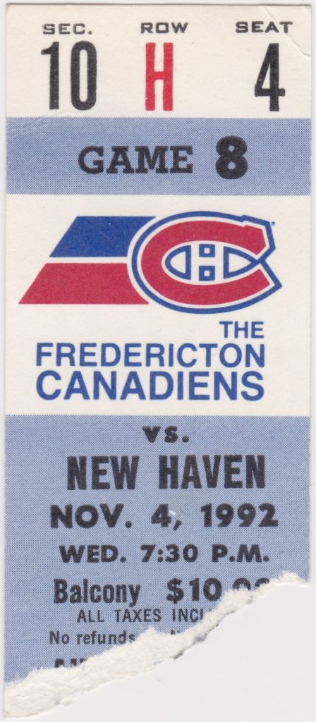 1992 Fredericton Canadiens ticket stub vs New Haven