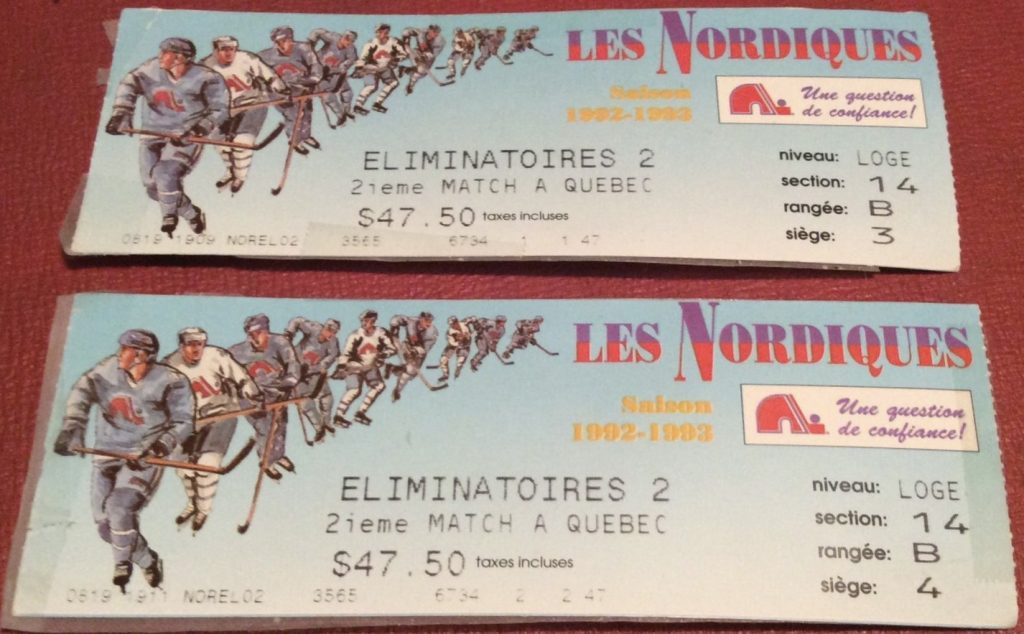1993 Quebec Nordiques Playoffs ticket stub vs Canadiens