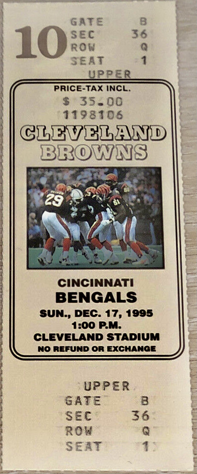 1995 Cleveland Browns ticket vs Cincinnati