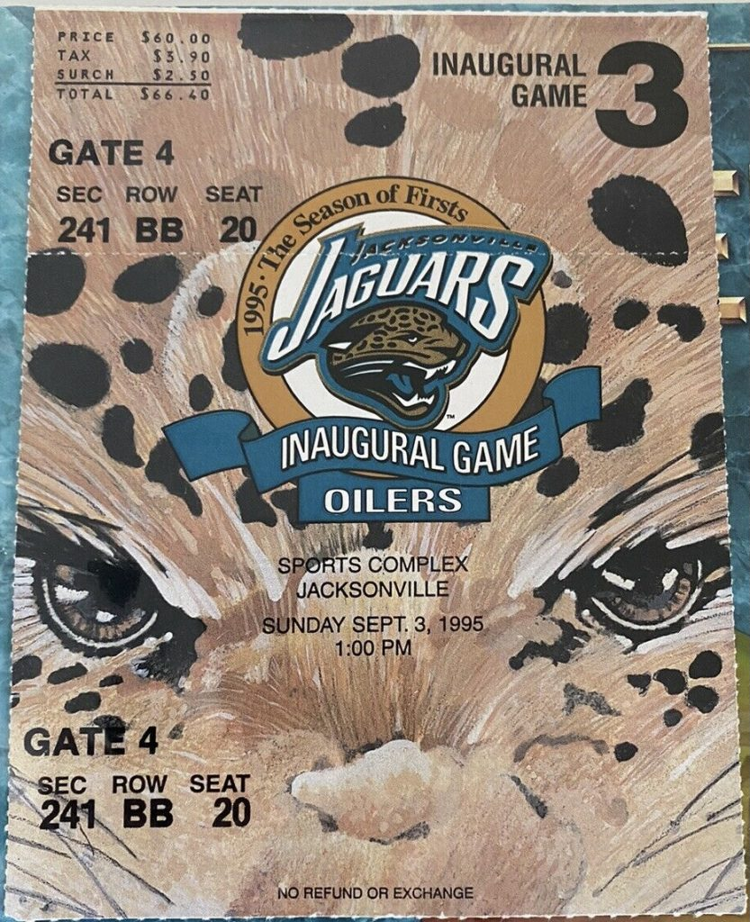 1995 Jacksonville Jaguars Inaugural Game ticket stub vs Houston