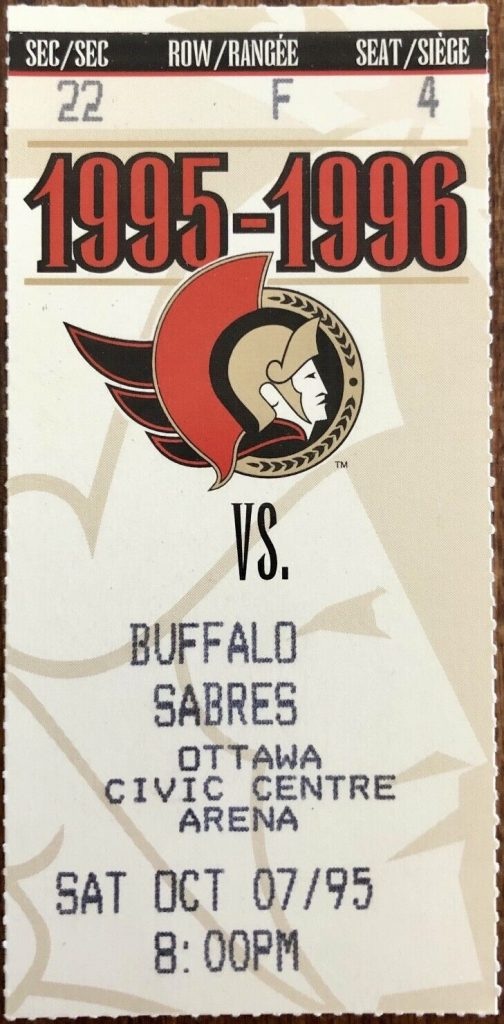 1995 Ottawa Senators ticket stub vs Buffalo
