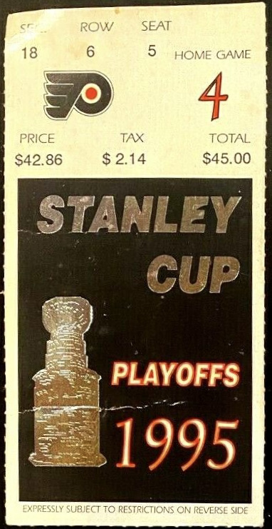 1995 Stanley Cup Playoffs Game 1 ticket stub Rangers Flyers