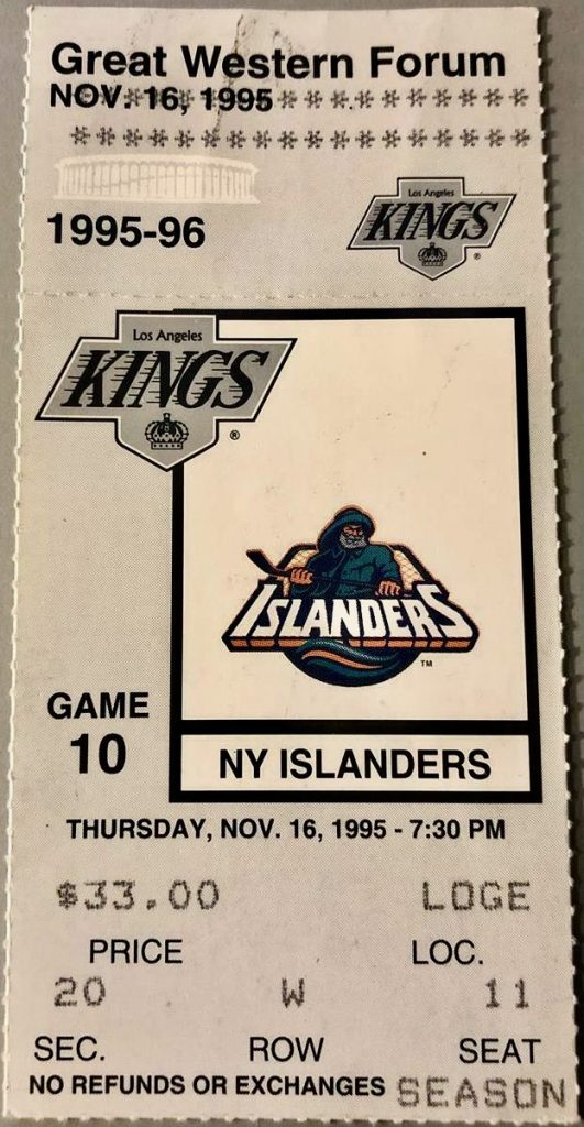 1995 Wayne Gretzky 5 assist ticket stub