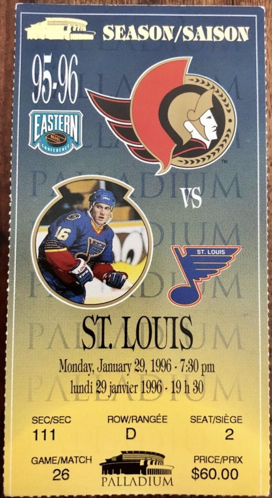 1996 Ottawa Senators ticket stub vs Blues