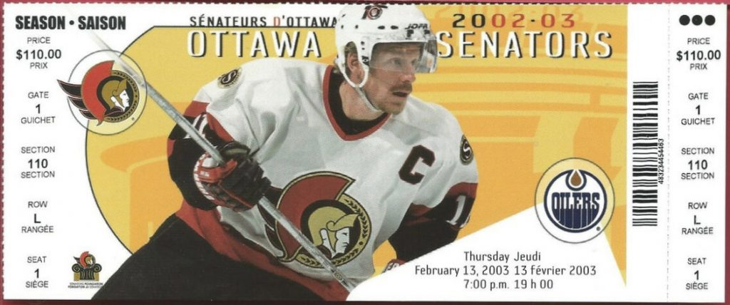 2003 Ottawa Senators unused ticket vs Oilers
