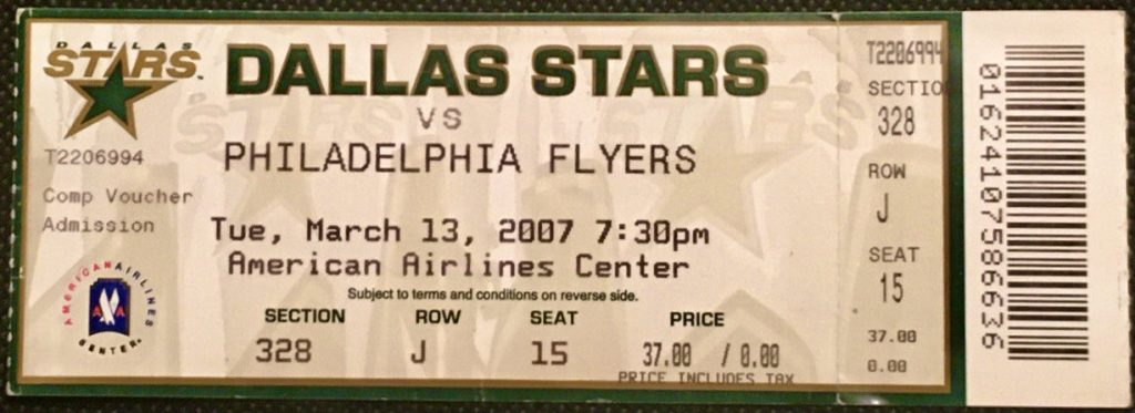 2007 Mike Modano 500th Goal ticket