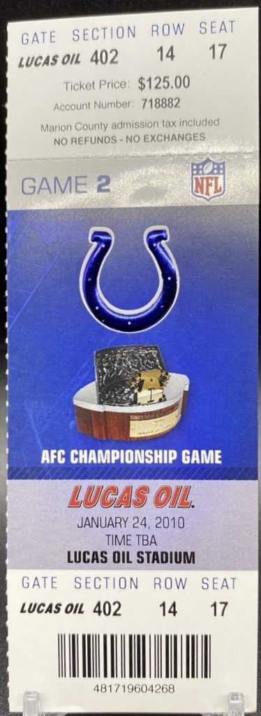 2010 AFC Championship Game ticket stub Jets Colts