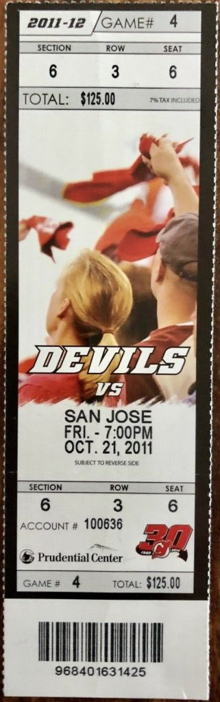 2011 Joe Thornton 1000th Game unused ticket